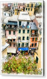 Vernazza Italy In The Cinque Terra Acrylic Print by Edward Fielding