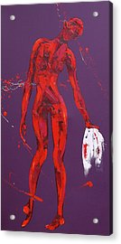 Veronica Wipes The Face Of Jesus  Station Six Acrylic Print by Penny Warden