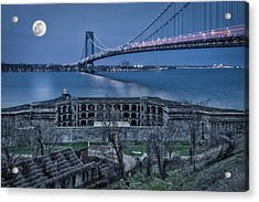 Acrylic Print featuring the photograph Verrazano Narrows Bridge Full Moon by Susan Candelario