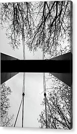 Acrylic Print featuring the photograph Vertical Bridge In Bw by Nikos Stavrakas