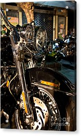 Vertical Front View Of Fat Cruiser Motorcycle With Chrome Fork A Acrylic Print