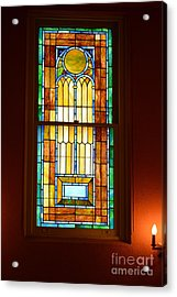 Vertical Stained Glass At The Sixth And I Temple Washington Acrylic Print