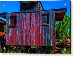 Very Old Worn Caboose Acrylic Print by Garry Gay