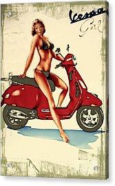 Vespa Girl - Vintage Poster Acrylic Print