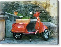 Acrylic Print featuring the painting Vespa Parked by Jeff Kolker