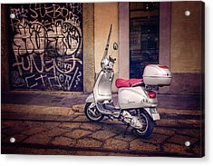 Vespa Scooter In Milan Italy  Acrylic Print