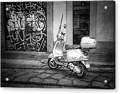 Vespa Scooter In Milan Italy In Black And White  Acrylic Print by Carol Japp