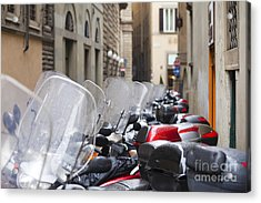 Vespas In Florence Acrylic Print by Andre Goncalves
