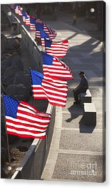 Veteran With United States Flags Acrylic Print by John A Rodriguez