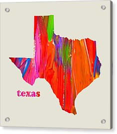Vibrant Colorful Texas State Map Painting Acrylic Print