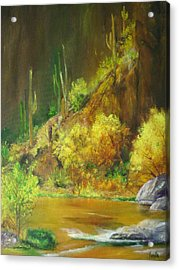 Vibrant Landscape Paintings  - Arizona Canyon Scene - Virgilla Art Acrylic Print by Virgilla Lammons
