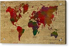 Vibrant Map Of The World In Watercolor On Old Sheet Music And Newsprint Acrylic Print by Design Turnpike