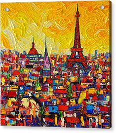 Vibrant Paris Abstract Cityscape Impasto Modern Impressionist Palette Knife Oil Ana Maria Edulescu Acrylic Print