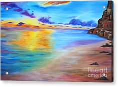 Rocky Sunset Shore Acrylic Print
