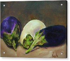 Vibrant Still Life Paintings - Eggplants Acrylic Print by Virgilla Lammons