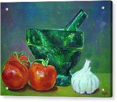 Vibrant Still Life Paintings - Morter Pestle Tomatoes And Garlic Acrylic Print by Virgilla Lammons