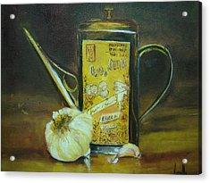 Vibrant Still Life Paintings - Olive Oil With Garlic - Virgilla Art Acrylic Print by Virgilla Lammons