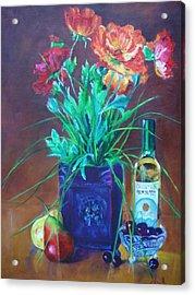 Vibrant Still Life Paintings - Poppies With Fruit And Wine - Virgilla Art Acrylic Print by Virgilla Lammons