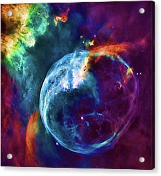 Vibrant Watercolor Of Cosmic Bubble Nebula Acrylic Print