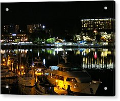 Victoria Inner Harbor At Night Acrylic Print