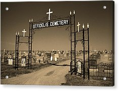 Acrylic Print featuring the photograph Victoria, Kansas - St. Fidelis Cemetery Sepia by Frank Romeo