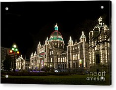 Victoria Parliament Buildings At Night At Christmas Acrylic Print