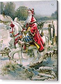 Victorian Christmas Card Depicting Saint Nicholas Acrylic Print by English School