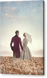 Victorian Couple Standing In A Meadow Acrylic Print by Lee Avison