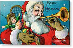 Victorian Illustration Of Santa Claus Holding Toys And Blowing On A Trumpet Acrylic Print