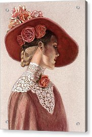 Victorian Lady In A Rose Hat Acrylic Print
