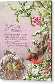 Victorian New Year Card Of A Robin And Two Birds In A Snowy Scene Acrylic Print