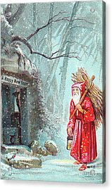 Victorian New Year's Card With Father Christmas Carrying Bundle Of Sticks On A Snowy Night Acrylic Print