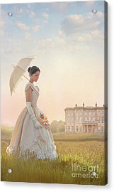 Victorian Woman With Parasol And Fan Acrylic Print by Lee Avison