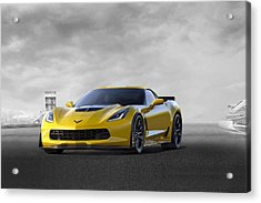 Acrylic Print featuring the digital art Victory Yellow  by Peter Chilelli