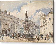 Vienna, Freyung With Austria Fountains Acrylic Print by Rudolf von Alt
