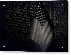 Vietnam Memrial Wall With Us Flag Acrylic Print