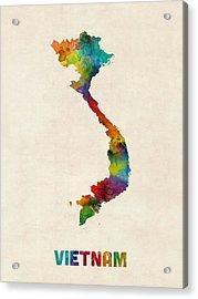 Vietnam Watercolor Map Acrylic Print by Michael Tompsett