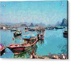 Vietnamese Fishermen Acrylic Print by Tyler Robbins