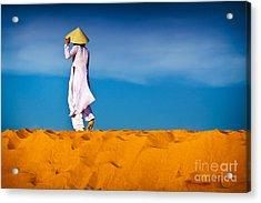 Vietnamese Woman In The Red Sand Dunes Mui Ne Vietnam Acrylic Print