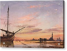 View Across The Lagoon, Venice, Sunset Acrylic Print by Edward William Cooke