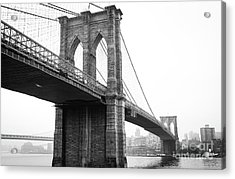 View Brooklyn Bridge With Foggy City In The Background Acrylic Print