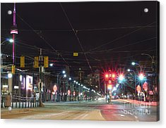 View Down Spadina Ave At Night. An Acrylic Print by Will Burwell