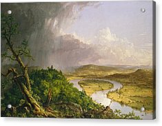 View From Mount Holyoke Northampton Massachusetts After A Thunderstorm. The Oxbow Acrylic Print by Thomas Cole