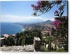 View From Teatro Greco In Taormina To The Cloud-shrouded Mount Etna Acrylic Print
