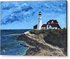 View From The North Portland Head Light Acrylic Print