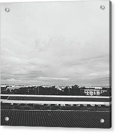 View From The Terrace Black And White Acrylic Print by Siri