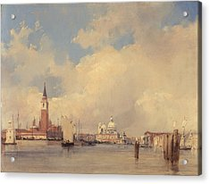 View In Venice With San Giorgio Maggiore Acrylic Print by Richard Parkes Bonington