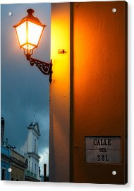 View Of A Lit Old Street Lamp Calle Del Sol Puerto Rico Acrylic Print by George Oze