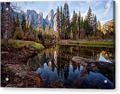 View Of Cathedral Peaks Acrylic Print by photos by Crow Carol Rukliss, Photographer