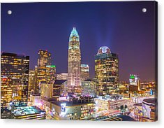 View Of Charlotte Skyline Aerial At Sunset Acrylic Print